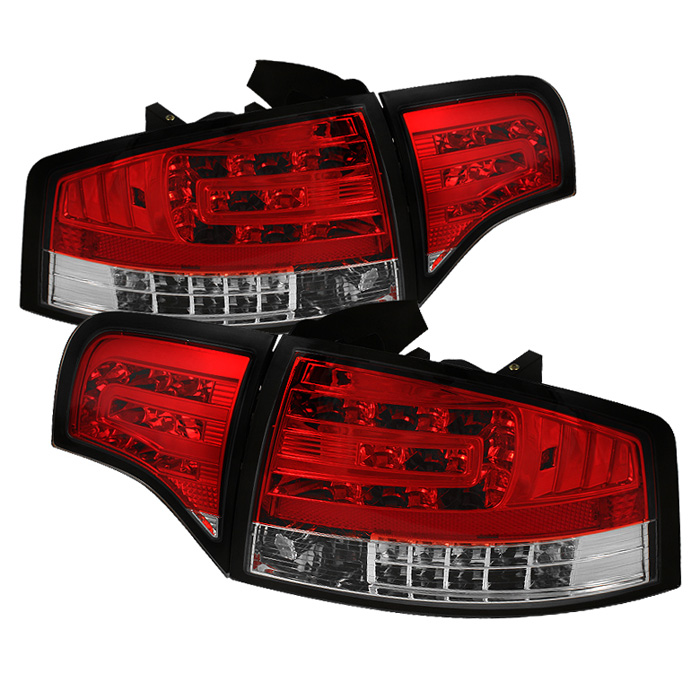 Audi A4 4Dr 06-08 LED Tail Lights - Red Clear