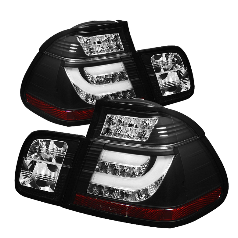 BMW E46 3-Series 02-05 4Dr Light Bar Style LED Tail Lights - Bla - Click Image to Close