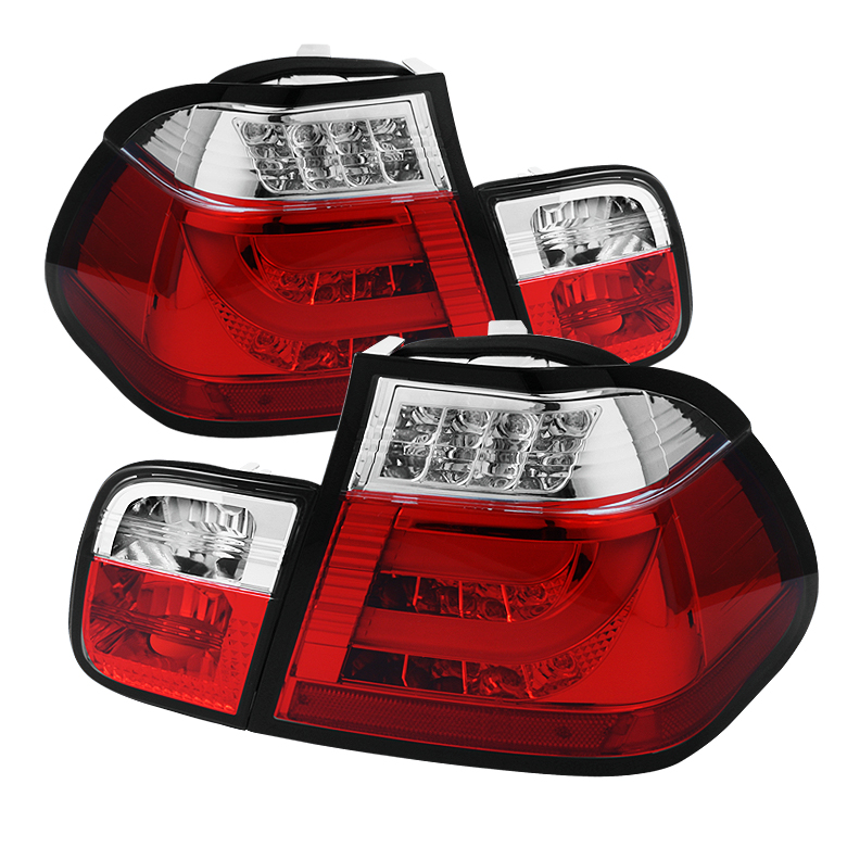 BMW E46 3-Series 02-05 4Dr Light Bar Style LED Tail Lights - Red