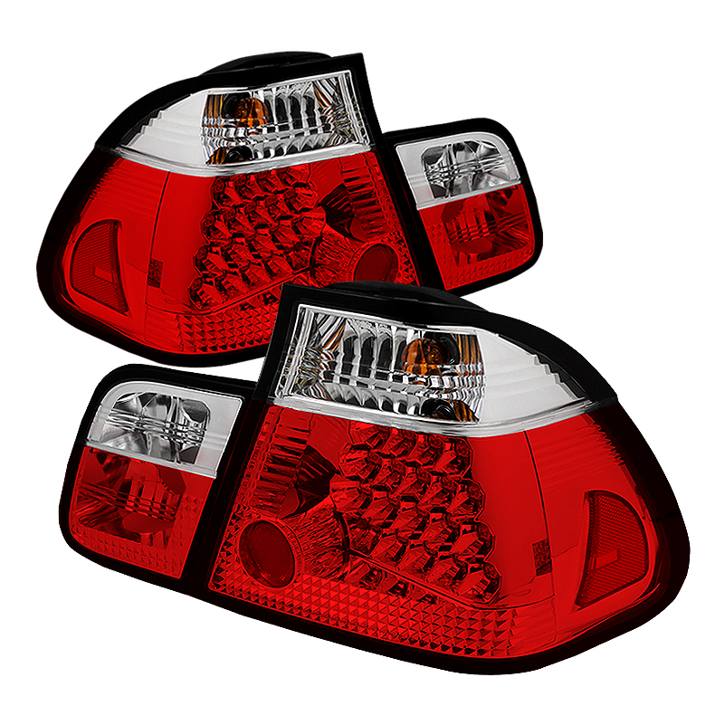 BMW E46 3-Series 02-05 4Dr LED Tail Lights - Red Clear