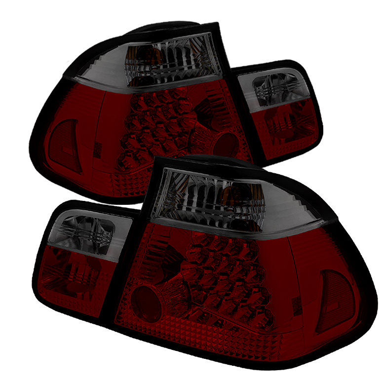 BMW E46 3-Series 02-05 4Dr LED Tail Lights - Red Smoke