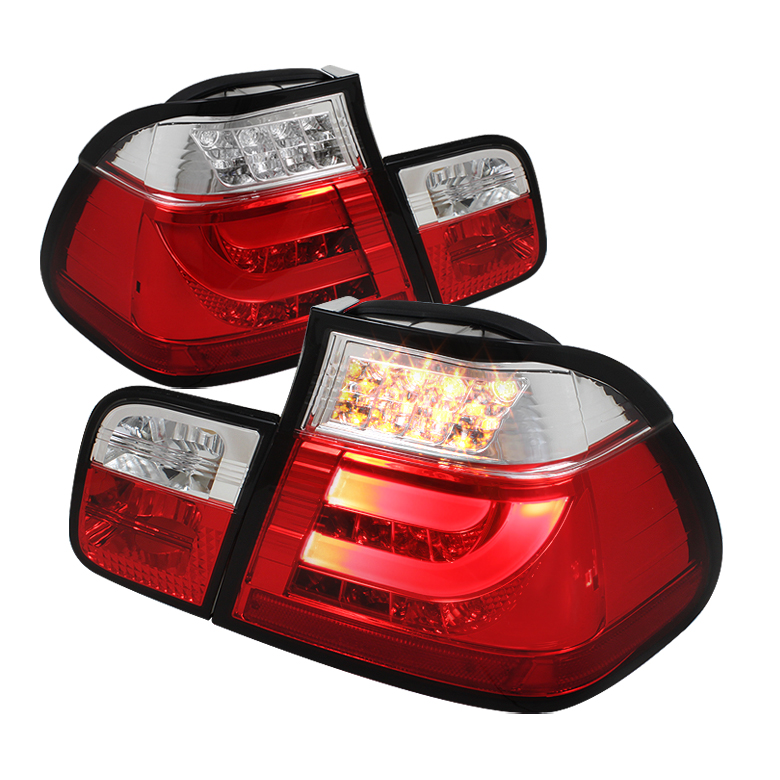 BMW E46 3-Series 99-01 4Dr Light Bar Style LED Tail Lights - Red