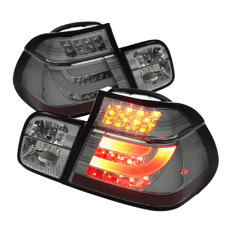 BMW E46 3-Series 99-01 4Dr Light Bar Style LED Tail Lights - Smo