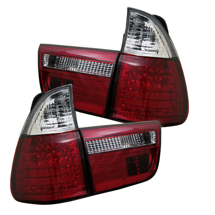 BMW E53 X5 00-06 4PCS LED Tail Lights - Red Clear