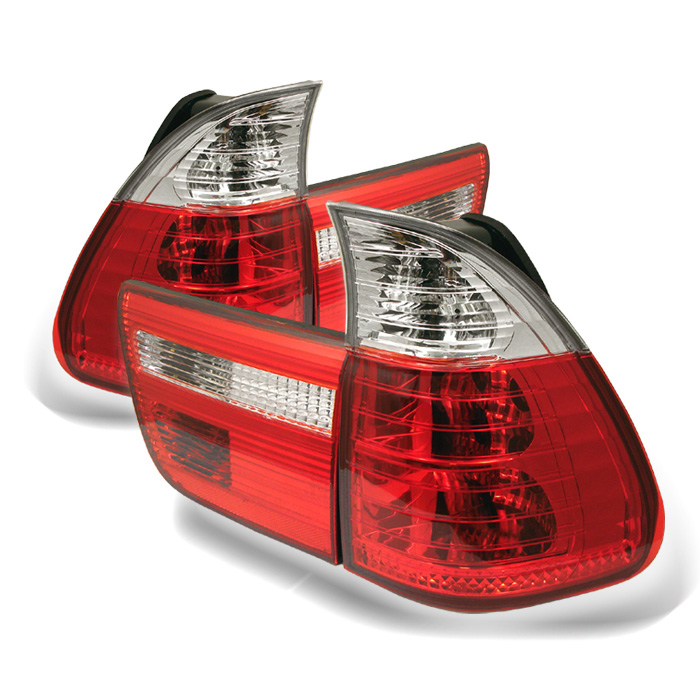 BMW E53 X5 00-06 4PCS Euro Style Tail Lights- Red Clear