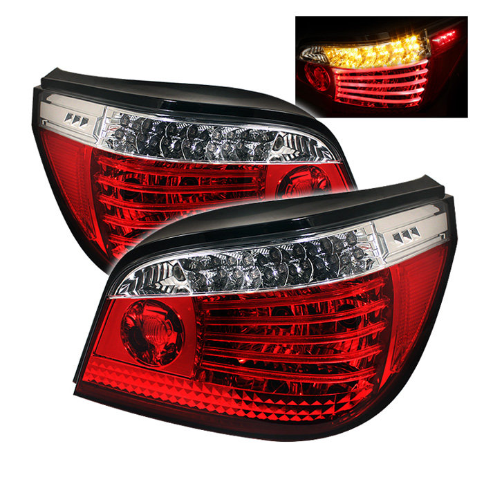 BMW E60 5-Series 04-07 LED Tail Lights - Red Clear
