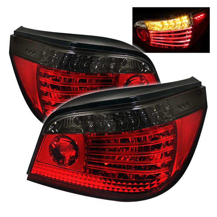BMW E60 5-Series 04-07 LED Tail Lights - Red Smoke