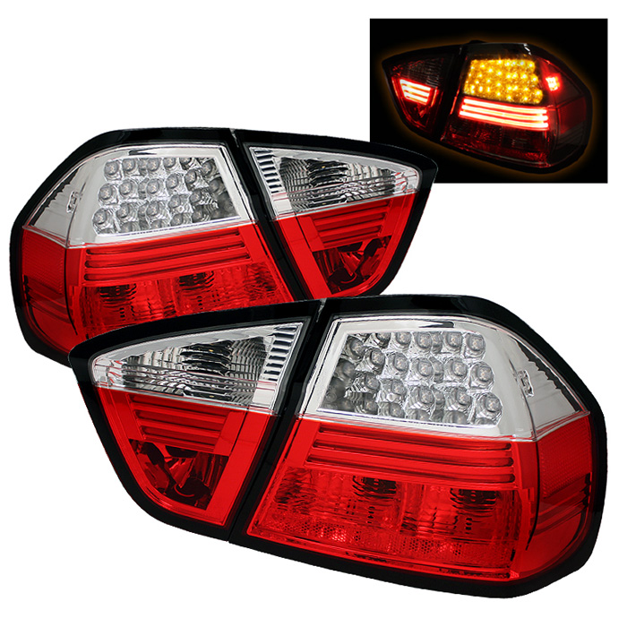 BMW E90 3-Series 06-08 4Dr LED Tail Lights - Red Clear