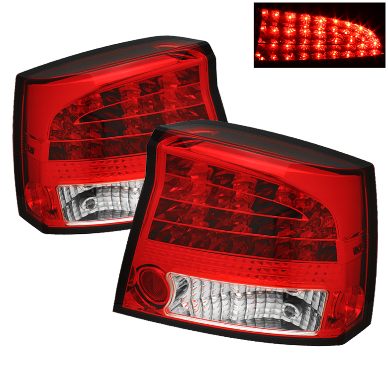 Dodge Charger 06-08 LED Tail Lights - Red Clear