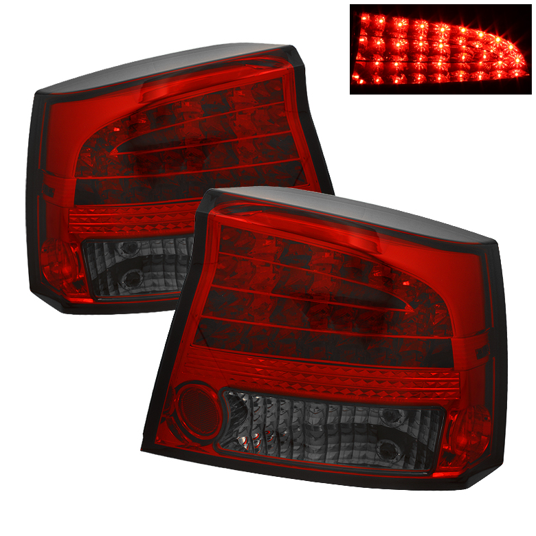 Dodge Charger 06-08 LED Tail Lights - Red Smoke