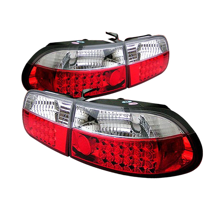 Honda Civic 92-95 3DR LED Tail Lights - Red Clear