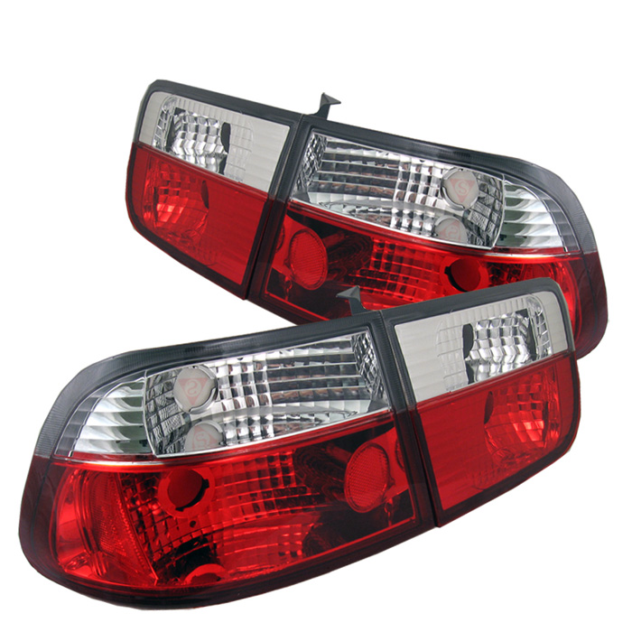 Honda Civic 96-00 2Dr Crystal Tail Lights - Red Clear