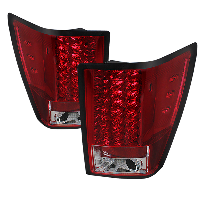 Jeep Grand Cherokee 07-10 LED Tail Lights - Red Clear