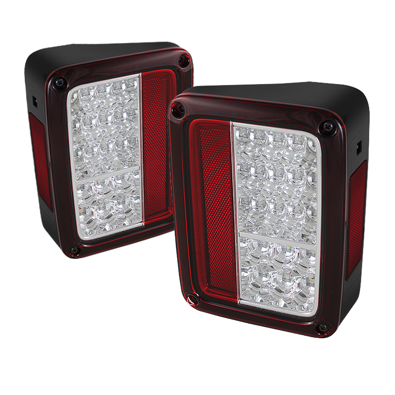 Jeep Wrangler 07-13 LED Tail Lights - Red Clear