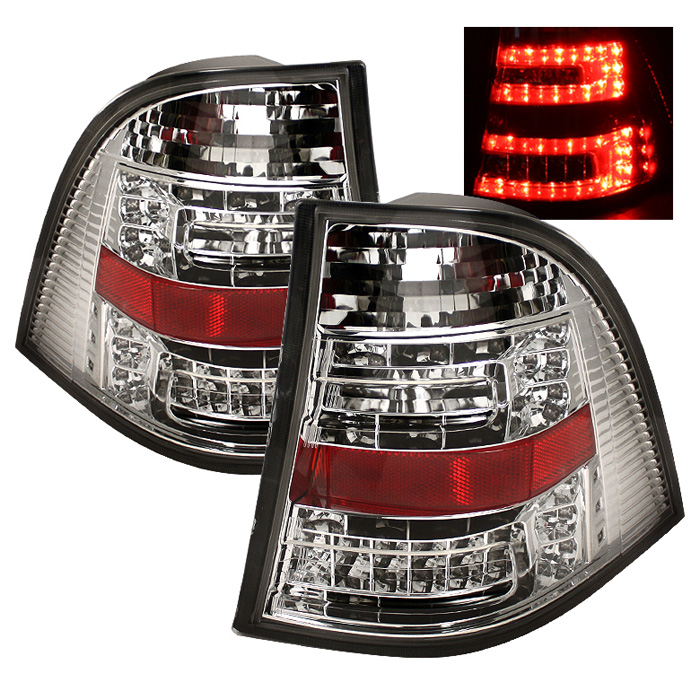Mercedes Benz W163 M-Class ML 98-05 LED Tail Lights - Chrome