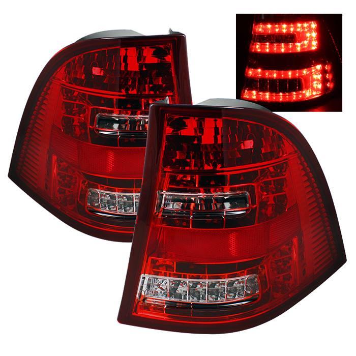 Mercedes Benz W163 M-Class ML 98-05 LED Tail Lights - Red Clear