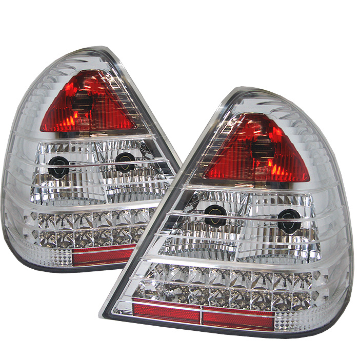 Mercedes Benz W202 C-Class 94-00 LED Tail Lights - Chrome