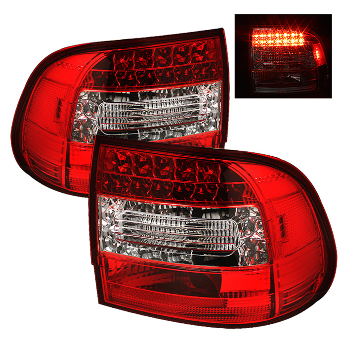 Porsche Cayenne 03-07 LED Tail Lights - Red Clear