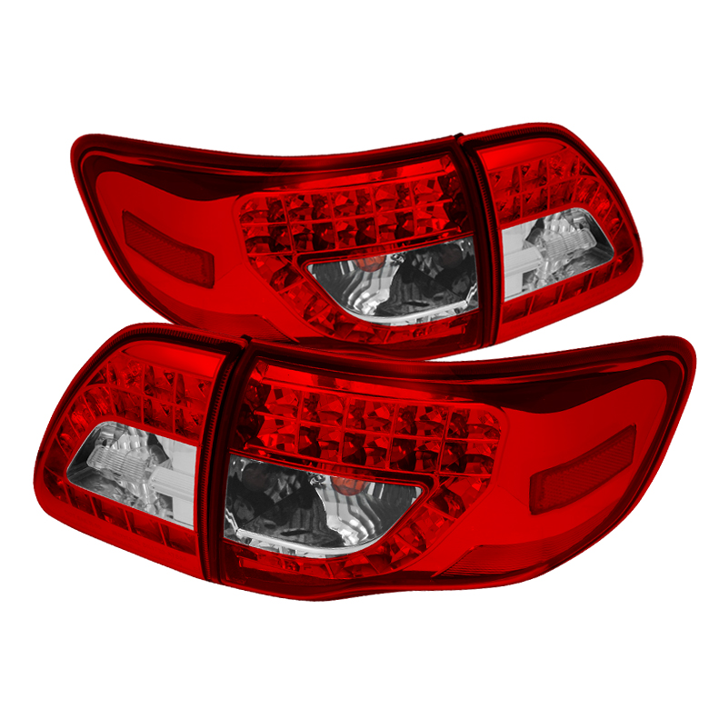 Toyota Corolla 09-10 LED Tail Lights - Red Clear