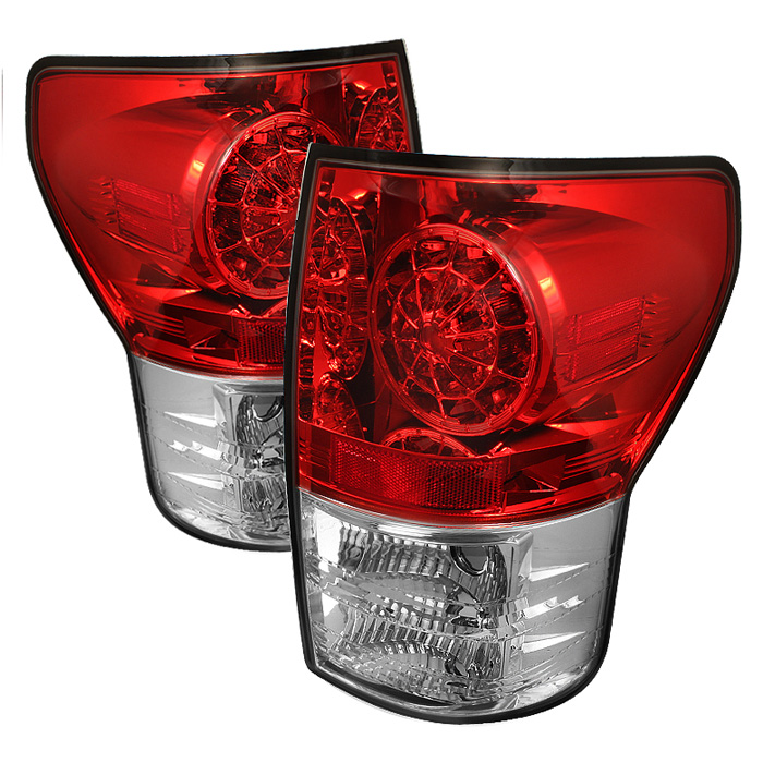 Toyota Tundra 07-12 LED Tail lights - Red Clear